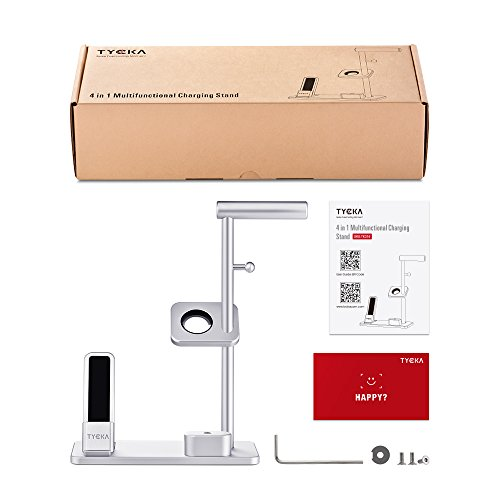 TYCKA Aluminum 4 in 1 Apple Charge Station, Apple Watch + iPhone stand + AirPods Charging Stand + Headphone Holder for Apple Watch Series 3/2/1, iPhoneX 8Plus 8 7Plus 7 6s 6Plus 6, iPad with Silver by TYCKA (Image #6)