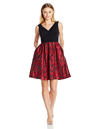 Adrianna Papell Women's Petite Portrait Bodice Fit and Flare, Red/Black, 12P by Adrianna Papell