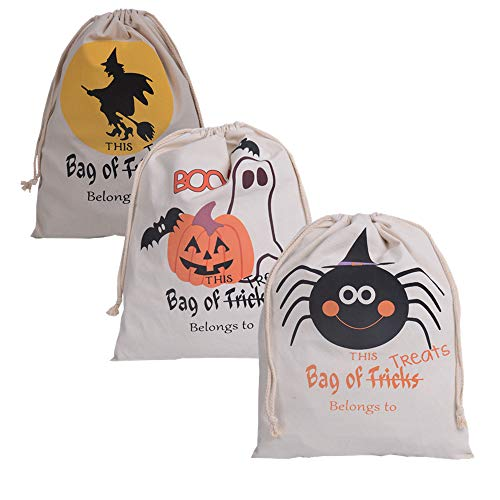 MEYZEZE Halloween Sacks Bag Canvas Personalized Children Candy Gifts Bag Pumpkin Spider Treat or Trick Drawstring Bags Halloween Party Decorations