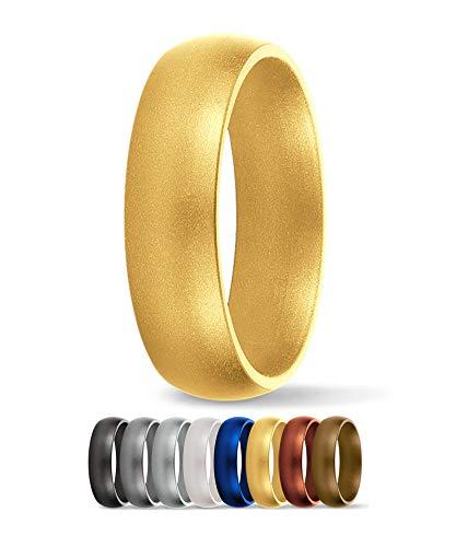 SafeRingz Silicone Wedding Ring, 6mm, Made in The USA, Men or Women, Gold 10 D-shaped Band Wedding Ring
