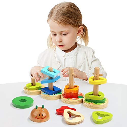 TOP BRIGHT Preschool Learning Toys for 1 Year Old Girl Boys Gifts - Montessori Toys for Toddlers - Wooden Toys STEM Educational Geometric Color Shape Sorter Stacking Games for Kids