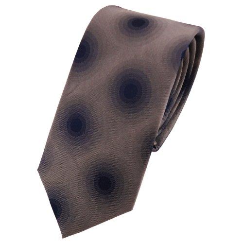 étroit TigerTie cravate en soie argent gris anthracite bleu foncé à pois - cravate en soie