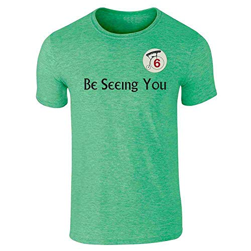 Be Seeing You Number 6 Cult Heather Irish Green L Short Sleeve T-Shirt -