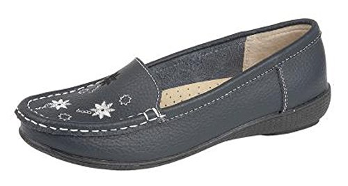 WOMENS NAVY LEATHER LOAFERS FLAT WORK SHOES SIZE 3 - 8 ya9qYLO