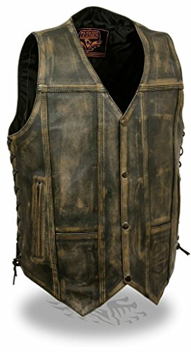 Distressed Leather Motorcycle Vest - Milwaukee Men's Motorcycle Distressed Brown Pockets Leather Vest Side Laces Soft New (L Regular)