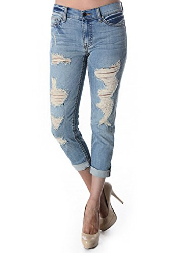 Eunina Women's Destructed Boyfriend Roll Up Jean Light Blue 3XL ()