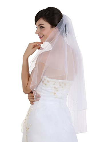 2T 2 Tier AB Crystal Beaded Edge Bridal Wedding Veil - ivory Fingertip Length 36