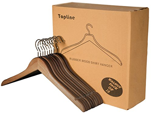 Topline Classic Wood Shirt Hangers - Walnut Finish (10-Pack)