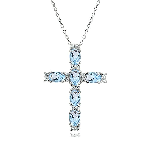 (Sterling Silver Blue Topaz Oval-Cut Cross Pendant Necklace with White Topaz Accents)