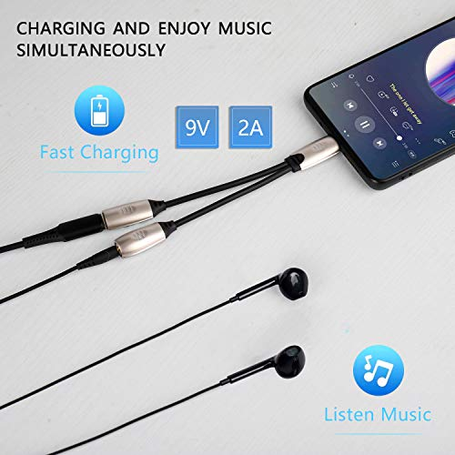 Aproo USB C to 3.5mm Headphone Adapter with Fast Charging Compatible for Pixel 4 3 3XL 2 2XL, Galaxy Note 10/10+/S20/20+/20 Ultra, iPad pro 2018, HTC, Essential Phone,Xiaomi (Silver)