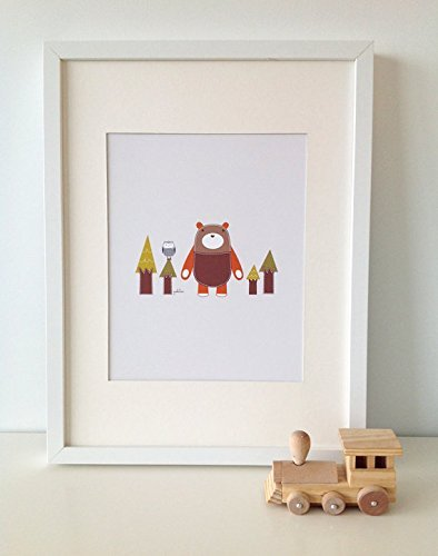 Yuri The Bear 2 // BEAR Print // Bear Wall Art // Woodland Baby Nursery Decor