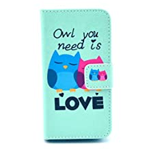 BEST- Eshop Love Owl PU leather Magnetic Flip Wallet Card Case Cover with Stand for Apple iPhone 4 4S , With Credit Cards Slots/ Money Holder