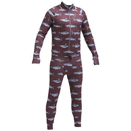 Airblaster Men's Hoodless Outdoor Base Layer Ninja Suit, Burgundy Fish, Large