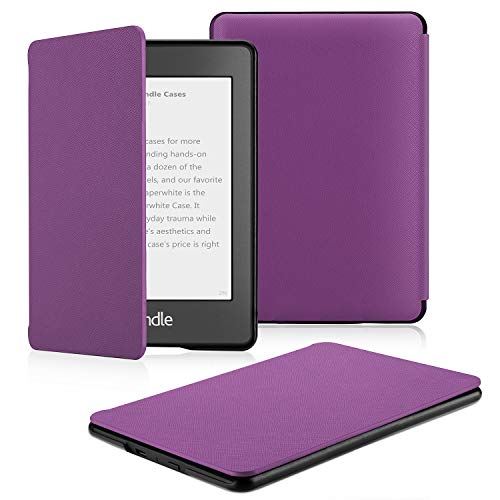 (OMOTON Kindle Paperwhite Case (10th Generation-2018), Smart Shell Cover with Auto Sleep Wake Feature for Kindle Paperwhite 10th Gen 2018 Released, Purple)