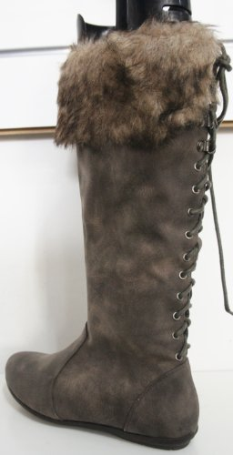 COCO Brown Fur Topped Lace Back Flat Boots L9309 rg8NoA9AV