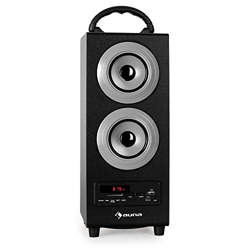 auna Beachboy XL Mobile PA-Anlage 2.1-Lautsprecher Bluetooth Box (USB-SD-Slot, AUX, Fernbedienung, UKW-Radio, Akku-Betrieb) silber