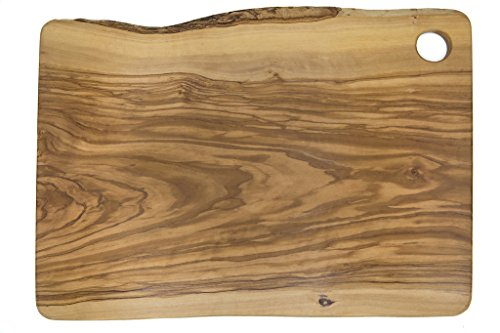 LARGE Rectangular Cutting Board for Food Preparation and Presentation - Premium Solid Natural Olive Wood Reversible Chopping Board MADE IN ITALY - Perfect in kitchen, on table or to share food at part - Cutting Board Preparation