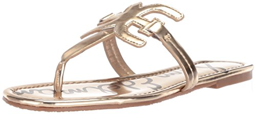Sam Edelman Women's Carter Flat Sandal, Molten Gold Liquid Metallic, 8.5 M US ()