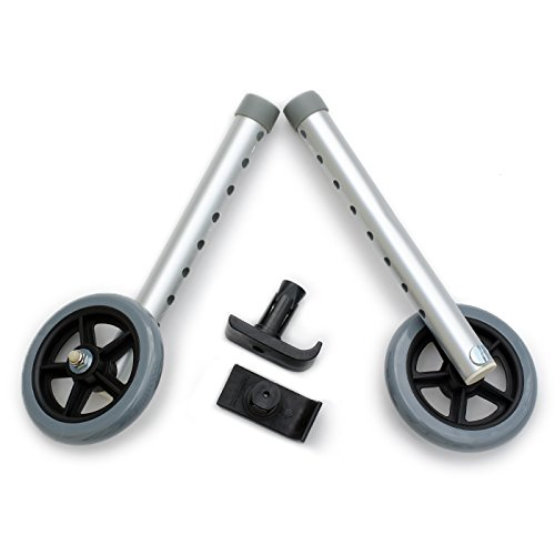 Walker Wheel Bundle: Invacare 6271 5'' Wheels with FREE FlexFit Universal Ski Glides by Top Glides