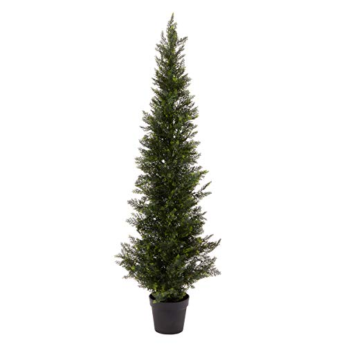 (Home Pure Garden 5-Foot-Tall Artificial Cedar Topiary Indoor or Outdoor UV Protection Plastic Tree in Pot Office)