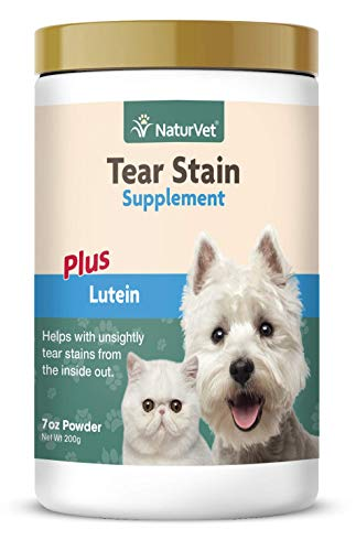 NaturVet - Tear Stain Plus Lutein - Eliminates Unsightly Tear Stains - Enhanced with Cranberry Extract, Calcium Ascorbate & Oregon Grape Root - for Dogs & Cats - 200 Gram Powder