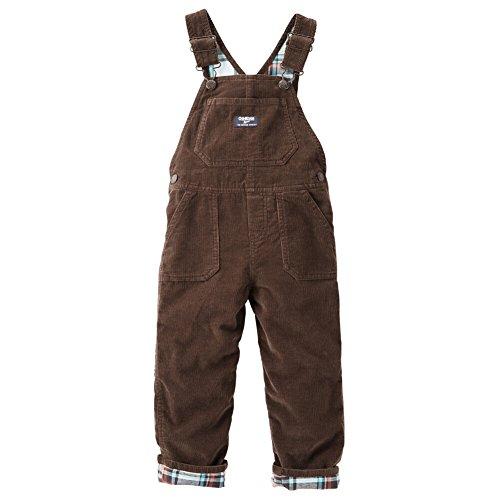 OshKosh B'Gosh Baby Boys Flannel Lined Cord Overalls Mint Plaid 6 Months