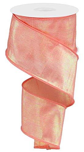 Iridescent Peach - Iridescent Dupioni Wired Edge Ribbon, 10 Yards (Peach, 2.5