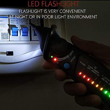 AC 12-1000 V sensibilidad de Modo Dual Ajustable comprobador Manual del Control del Voltaje del Coche y el Control del Volumen Comprobador de tensi/ón sin Contacto Gogdog AVD06