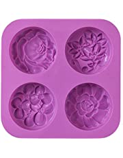 Cozihom Flower Silicone Soap Molds, Homemade Soap Mold, Muffin, Pudding, Jelly, Brownie and Cheesecake, Nonstick & BPA Free