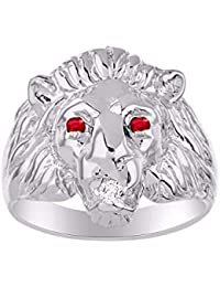 Amazing Conversation Starter Set with Genuine Diamond & Gorgeous Precious Ruby, Sapphire or Emerald Lion Head Ring Set in Sterling Silver.925
