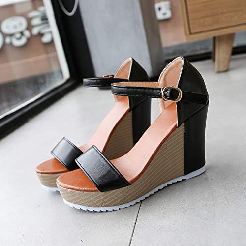 Sandalias Cuña Casual Alikeey Arch De Plataforma Peep Zapatos Alto Moda Mujer Verano Negro Tacón Correa Toe Support Hebilla Sandals wwE7qO5r
