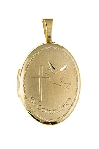 Or 9 ct 1st Communion 16 mm Pendentif Médaillon-Locket ovale