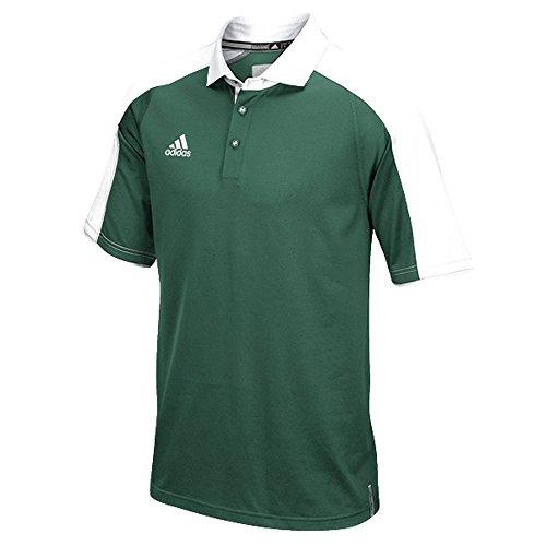 Polo Adidas Uomo Moderno Climalite Varsity Scuro Verde-bianco