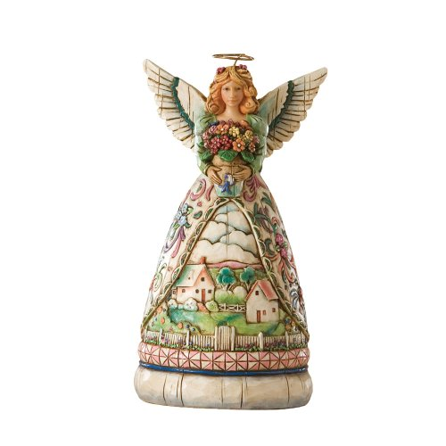 Jim Shore Heartwood Creek 4-Seasons Mini Angel with Spring Scene Figurine, 4-1/2-Inch Jim Shore Angel Spring