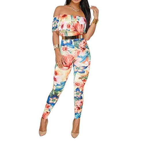 Cheap ARTFFEL-Women Stylish Off Shoulder Ruffle Printed Stretchy Bodycon Romper Jumpsuits supplier