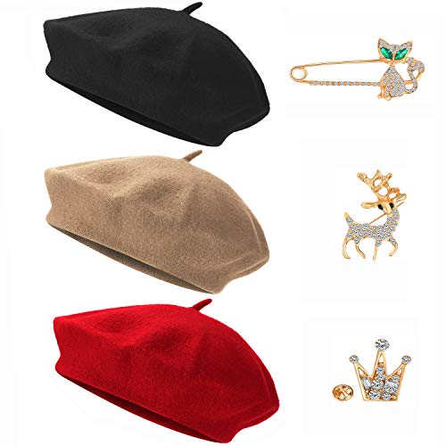WILLBOND Women Autumn Winter Beret Hat French Beret Artist Cap With Gold Brooch Pin