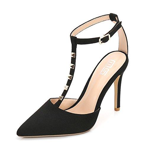 GAOLIM Zapatos De Tacón Alto De Punta A Punta Fina para Mayor Comodidad Singles Femeninos Zapatos Baotou Sandalias De Tacón Alto De Mujeres con Muy Alto (Mayor de 8 Cm) Negro