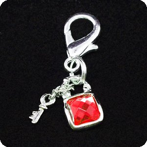 PURELY CHARMING Charm - Square Lock & Key Set, Red