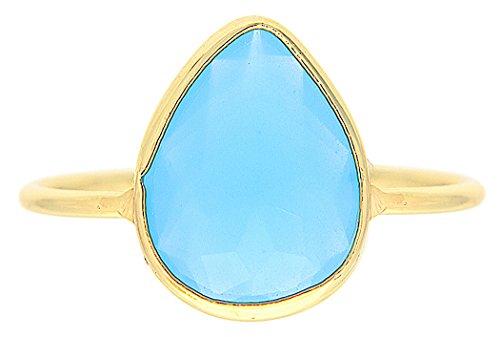 Pear Shape Blue Chalcedony Wholesale Gemstone Jewelry Ring (Size 7)