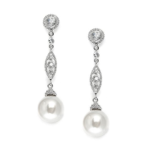 Mariell Vintage Wedding Pearl and CZ Dangle Bridal Earrings - Filigree Art Deco Gatsby Style Pearl Drops