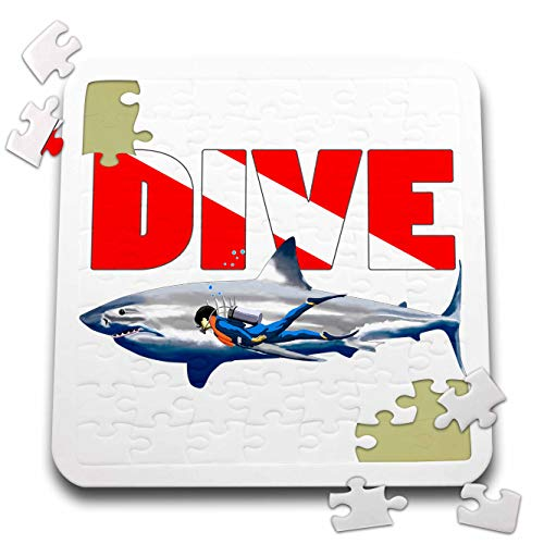 3dRose Macdonald Creative Studios - Scuba - Scuba Diving Dive Flag with a Large Great White Shark. - 10x10 Inch Puzzle (pzl_295637_2)