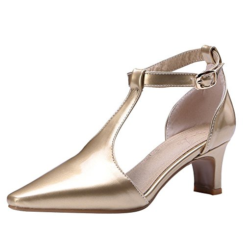 Mee Shoes Women's Mid Heel Buckle Pointed Toe Court Shoes Gold iL82BW8DE