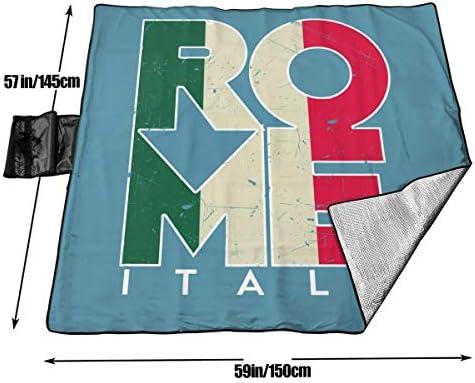 GuyIvan Roma Italia Picnic Coperta da Spiaggia Impermeabile per Picnic Beaches Escursioni 145X150cm