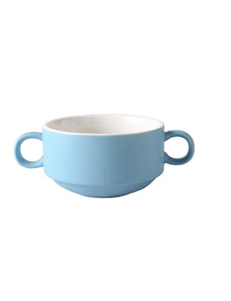 XIUXIU Cerámica Mate Tazón de Sopa binaural Tazón de Sopa para niños Desayuno de la casa