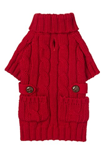 fabdog Pocket Cable Knit Turtleneck Dog Sweater (16