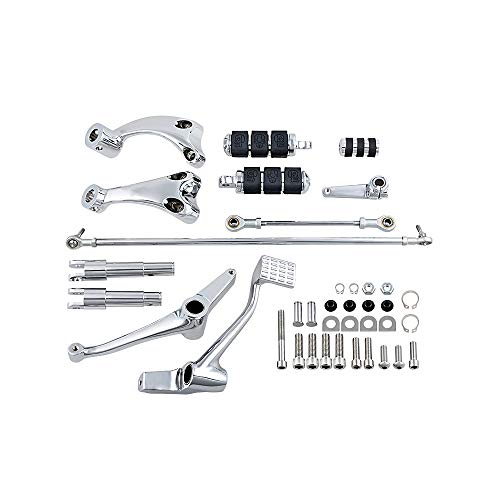 Chrome Forward Control Peg Lever Linkage Complete Kit Compatible with Selected Models 04-13 Harley Sportster XL 1200 883 Custom Chrome Forward Controls