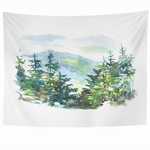 Tapestry Franciscan - AlliuCoo Wall Tapestries 60 x 50 Inches Blue Artistic Watercolor Landscape Pine Tree Forest Mountains White Green Beautiful Carpathian Home Decor Wall Hanging Tapestry Living Room Dorm
