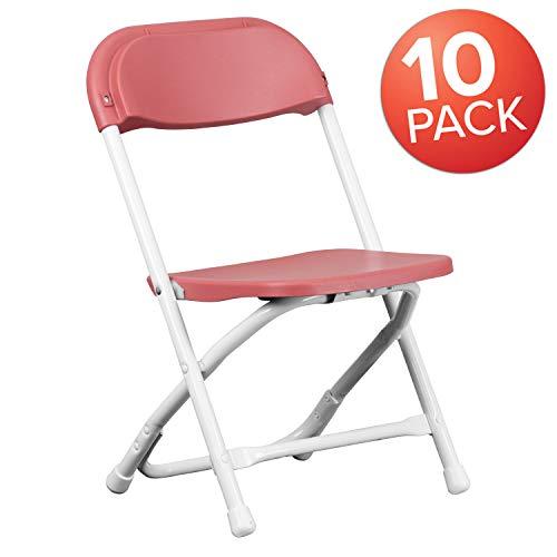 Flash Furniture 10 Pk. Kids Burgundy Plastic Folding Chair ()