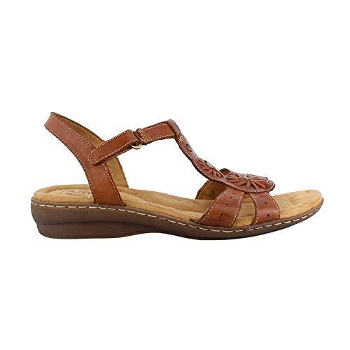 (Natural Soul Women's Barroll T Strap Sandal,Saddle Tan Leather,US 8.5 M)