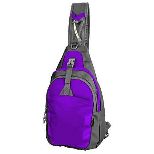 LC Prime Sling Bag Backpack Chest Shoulder Compact Fanny Sack Satchel Outdoor Bike nylon fabric purple, by